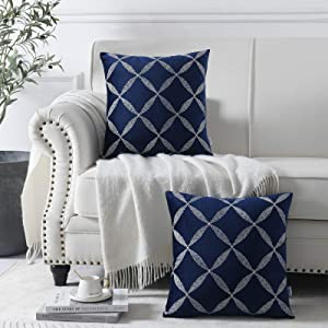 Nordeco Pack of 2 Velvet Pillowcase with Embroidery Geometric Pattern, Square Pillow Covers for Home Decor(Dark Blue)