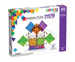 Magna Tiles Freestyle Set, The Original, Award-Winning Magnetic Building Tiles, Creativity & Educational, Stem Approved, Clear Colors & Translucent