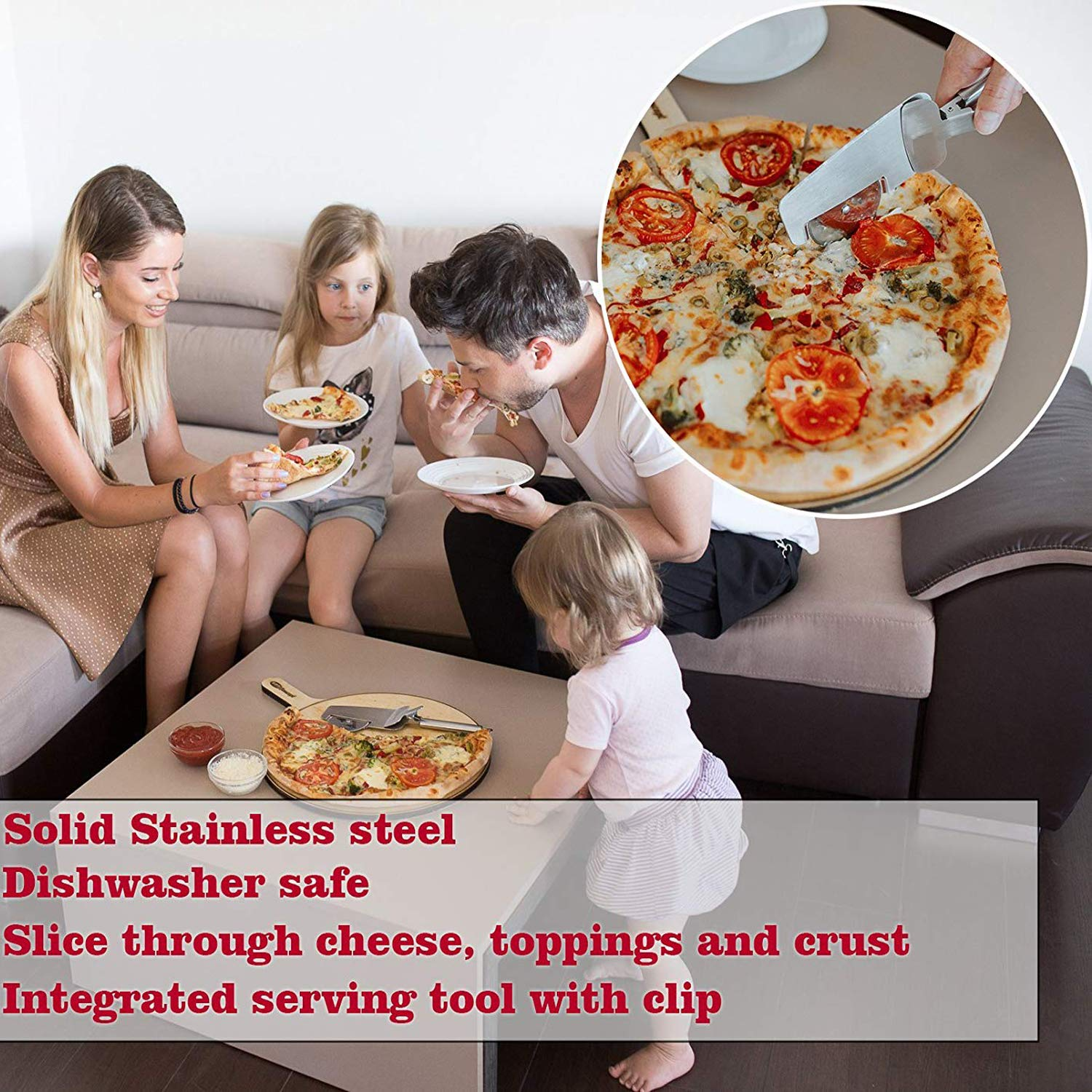 Buzzme 4 in 1 Pizza Cutter Wheel, Stainless Steel Pizza Shovel Slicer with Sharp Blade Dishwasher Safe Easy to Clean