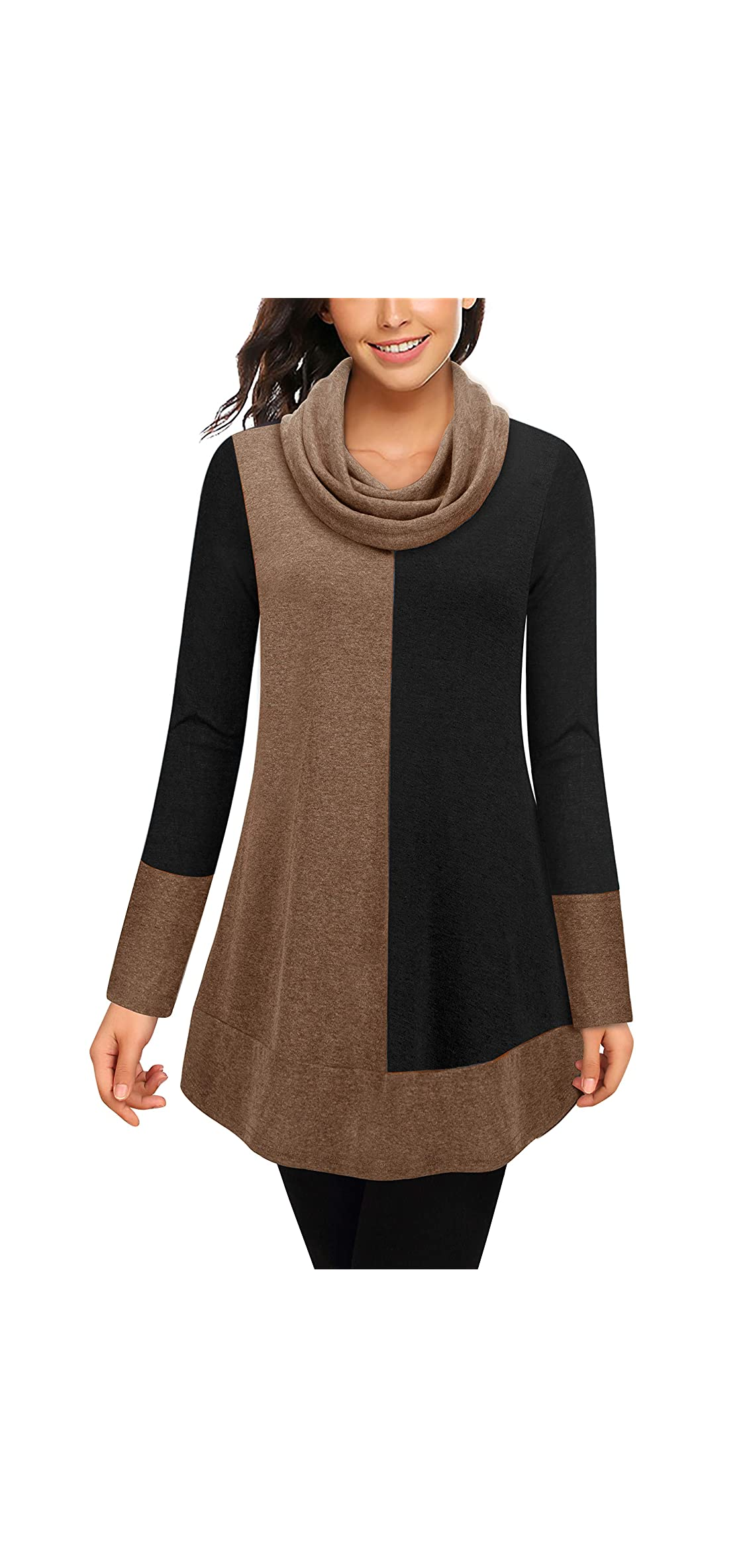 Women's Cowl Neck Long Sleeve Splicing Hoodie Pullover