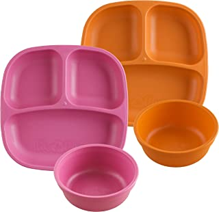 product image for Re-Play Made in USA 4pk Starter Dining Set of 2 Divided Plates with 2 Matching Bowls in Bright Pink and Orange. Made from Eco Friendly Heavyweight Recycled Milk Jugs - Virtually Indestructible!