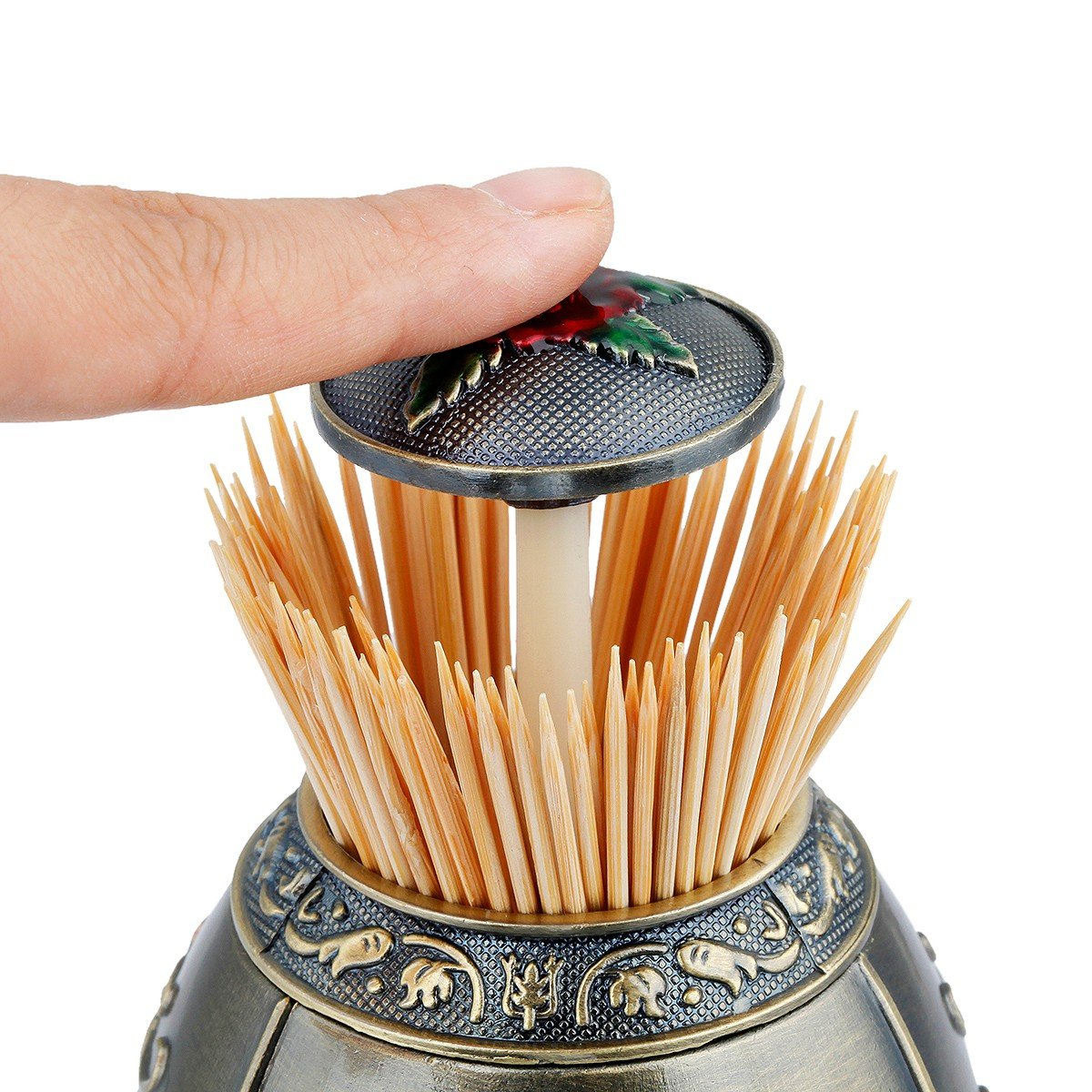 mookaitedecor Metal Automatic Toothpick Holder with Bottle Opener Push Style Auto Toothpicks Case for Home Hotel Decoration by mookaitedecor (Image #4)