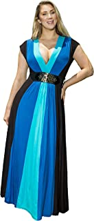 product image for Funfash Plus Size Women Blue Black Empire Waist A Line Block Long Maxi New Dress