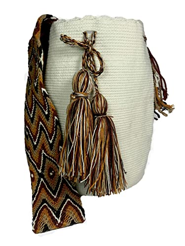Wayuu Mochila Bag Large- Colombian Ethnic 100% Real Crochet Hand Woven -Cotton- Off White: Handbags: Amazon.com