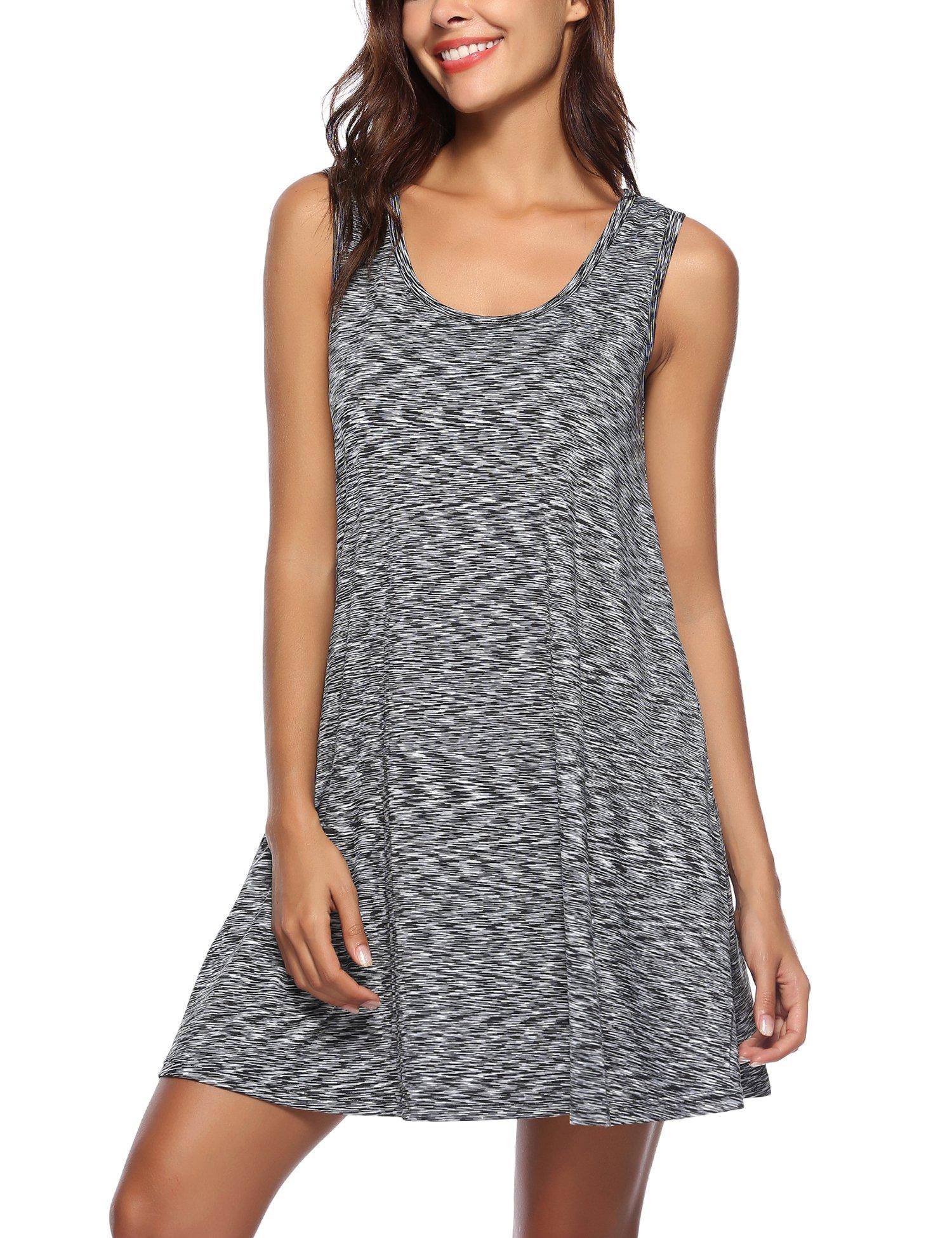 ARANEE Women Summer Beach Cotton Casual Sleeveless Flared Tank Dress