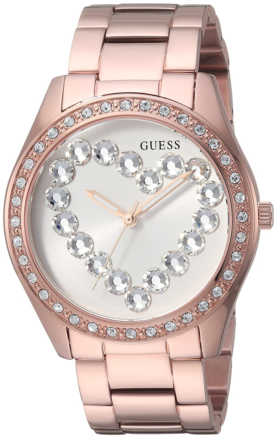 Amazon.com: GUESS Factory Womens Rose Gold-Tone and Rhinestone Analog Watch: Watches