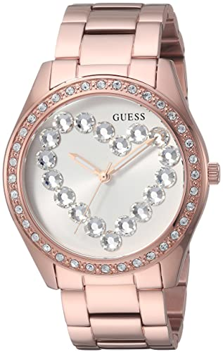 e046d516e75e Guess Reloj de acero inoxidable con corazón de cristales para mujer   Amazon.es  Relojes