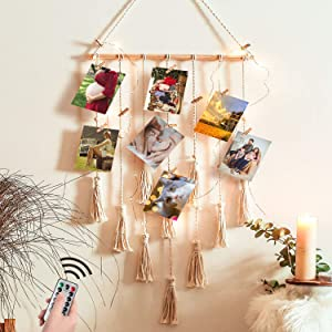 JOBOSI Hanging Photo Display Macrame Wall Hanging Pictures Organizer Boho Home Decor, Mom Gifts, Grandma Gifts, Birthday Gifts, Friends Gifts, Girls Gifts, Memorial Gift