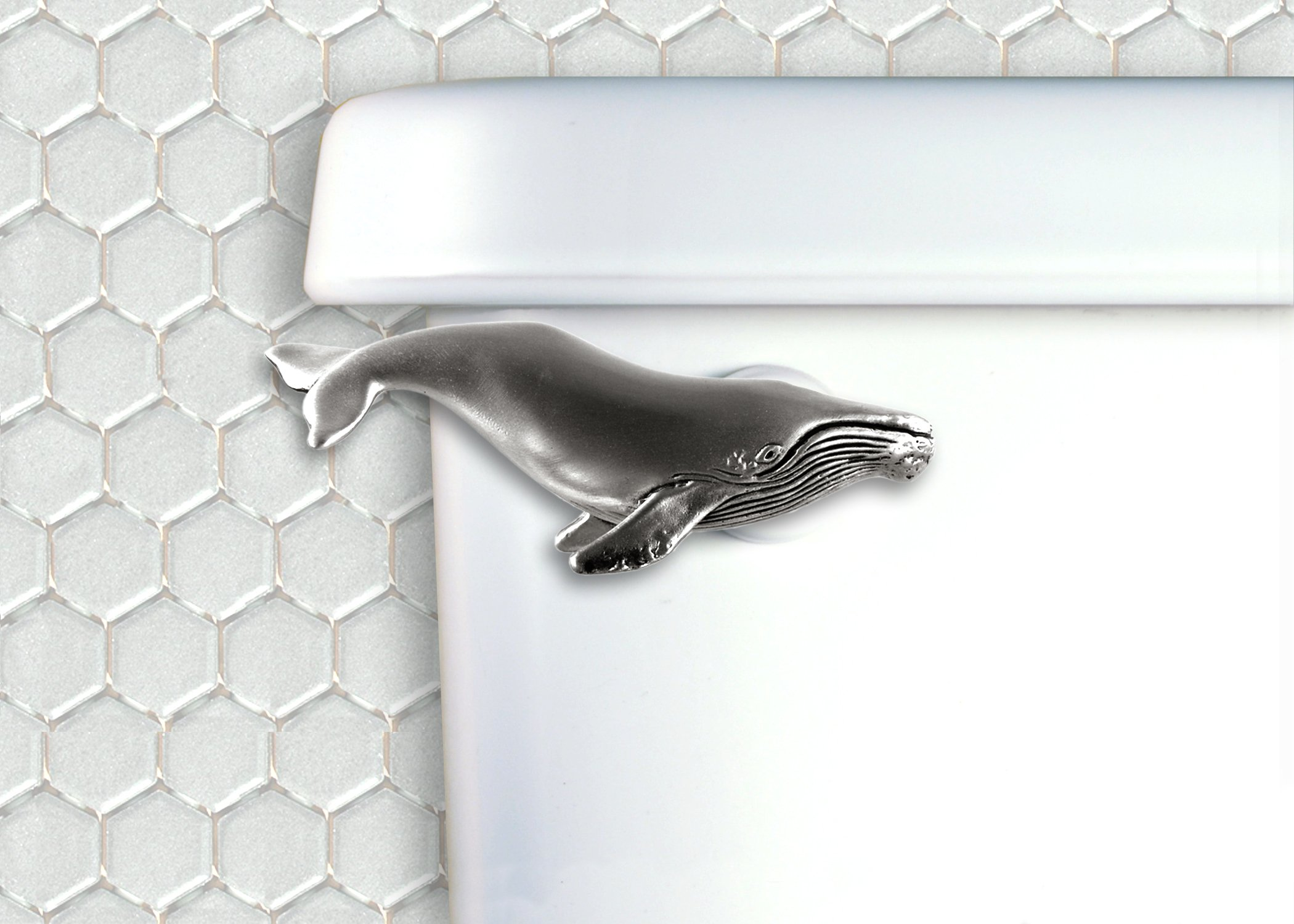 Humpback Whale Toilet Flush Handle- Front Mount- Satin Pewter