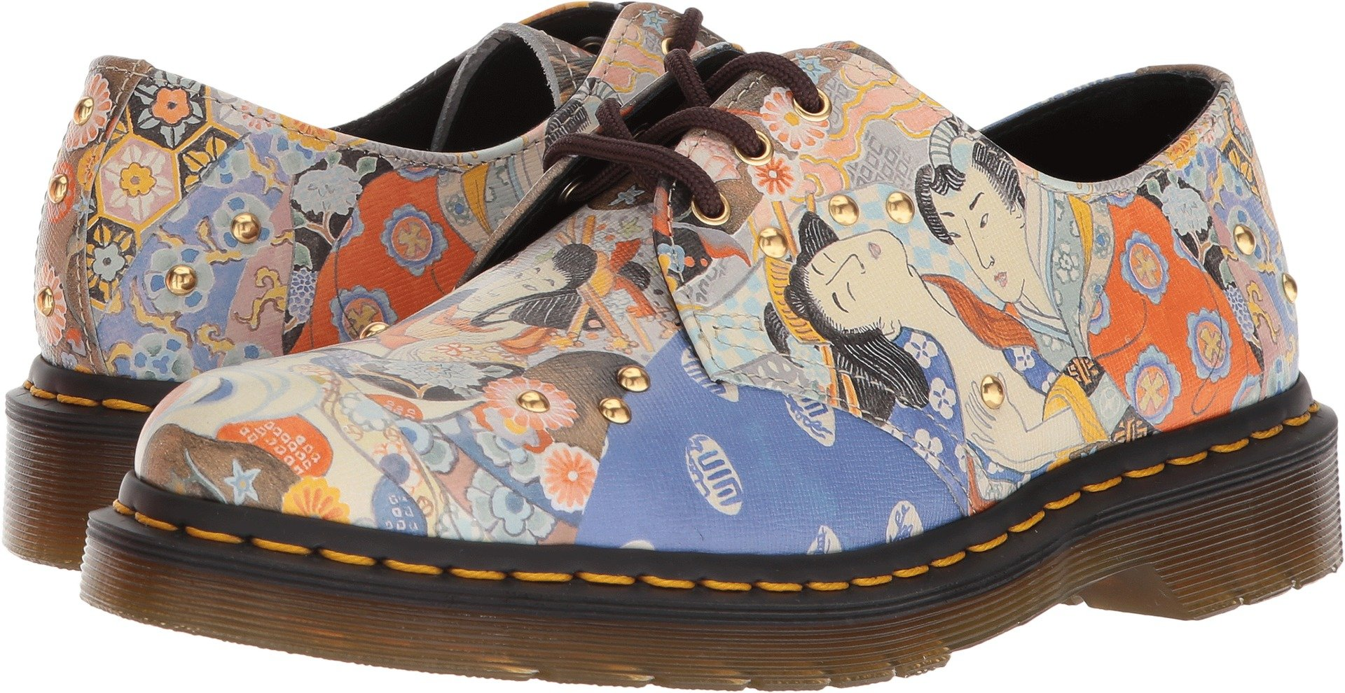 Dr. Martens Women's 1461 Eastern Art Oriental Backhand Straw Grain 3 M UK