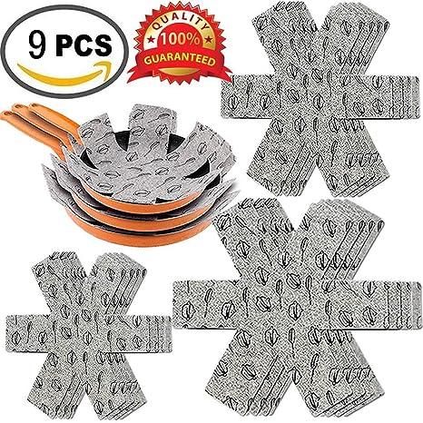Xutong Protectores para ollas y sartenes (9 unidades, tamaño pequeño/10, mediano