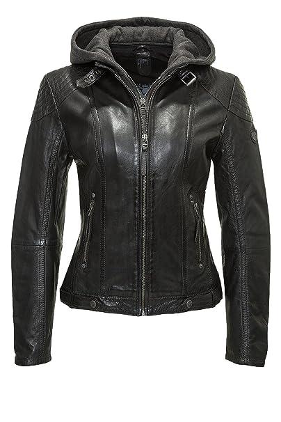 bestbewertet Online-Verkauf sehr schön Gipsy Damen Lederjacke mit Kapuze im Biker Look Schwarz