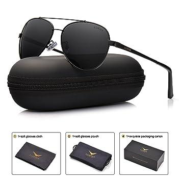 b12bfa783fd09e LUENX Homme lunettes de soleil AVIATEUR polarisés de conduite avec le cas – UV  400 protection