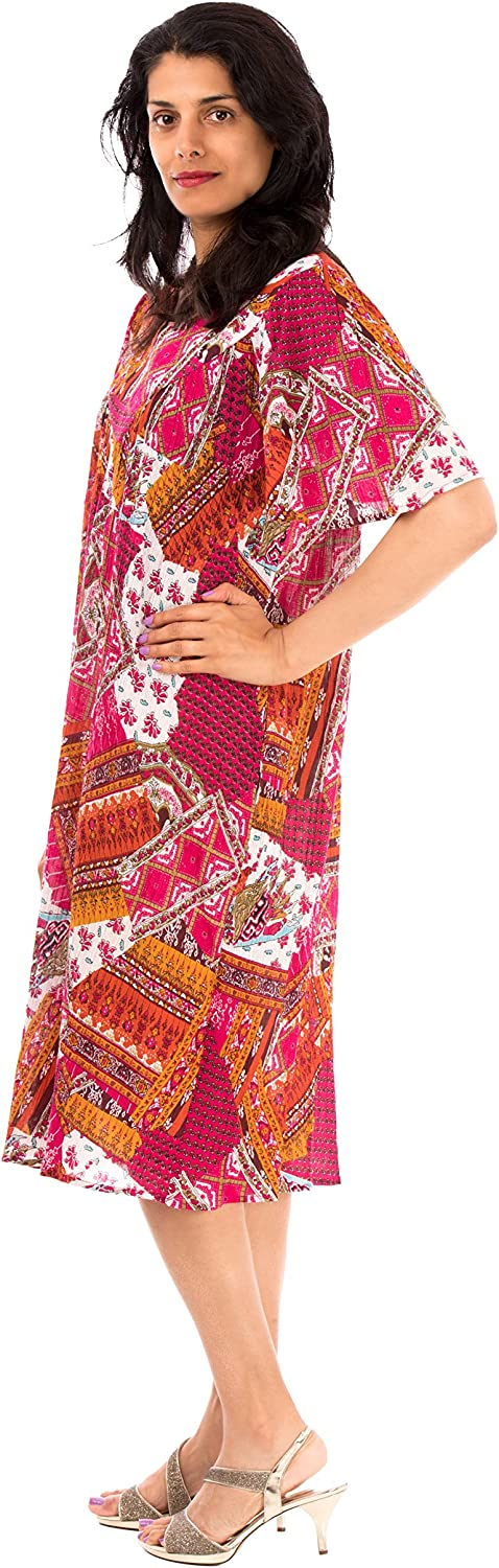 Sante Classics Womens Cotton Crinkle Dress Ema Fuchsia Plus
