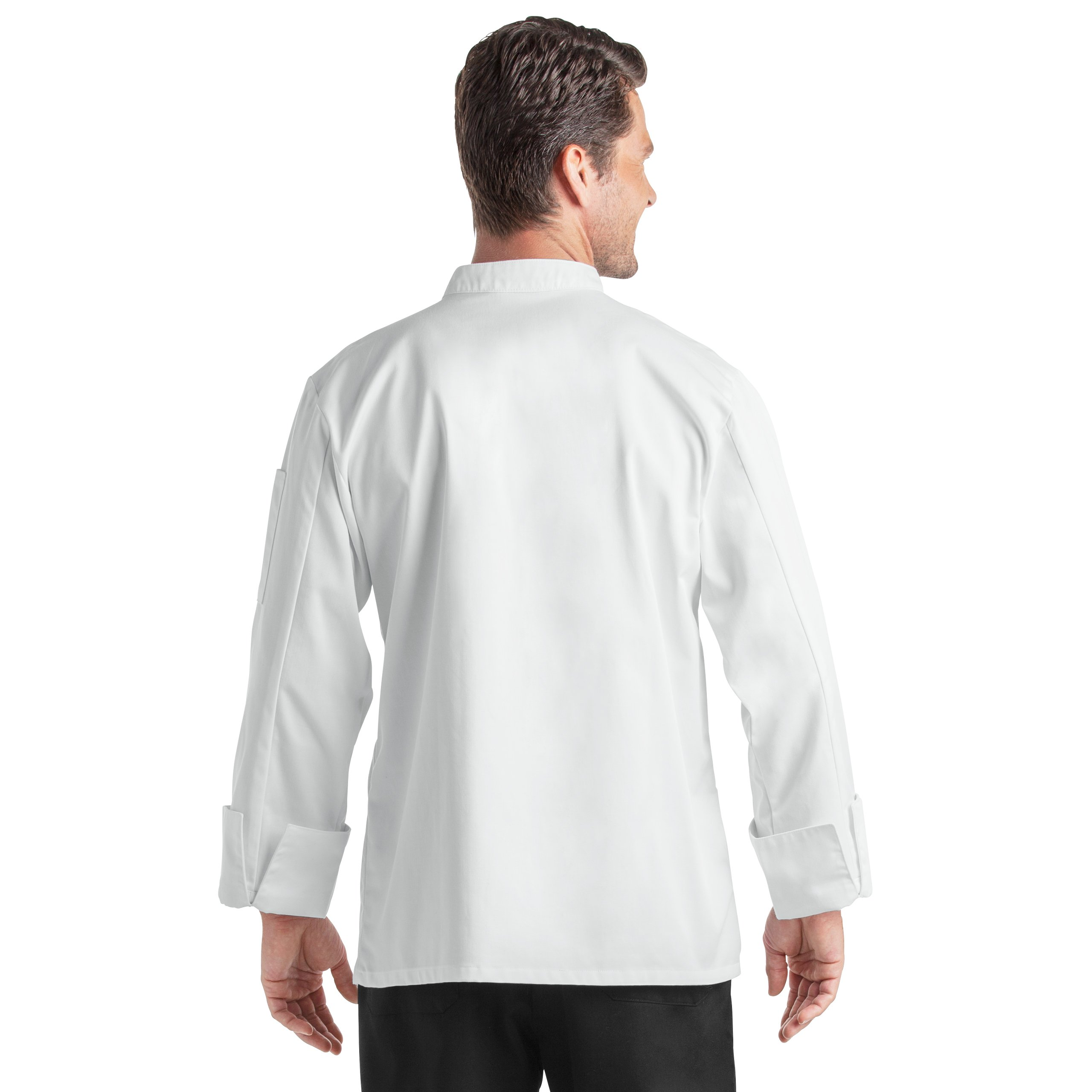 Unisex Long Sleeve Chef Coat/Double Breasted/Plastic Button Reversible Front Closure (S-2X, 2 Colors) (White, Medium) by On The Line (Image #8)