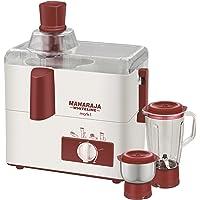Maharaja Whiteline Mark 1 Happiness 450-Watt Juicer Mixer Grinder (White and Red)