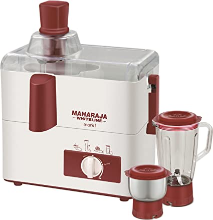 af22c2954 Buy Maharaja Whiteline Mark 1 Happiness 450-Watt Juicer Mixer Grinder  (White and Red) Online at Low Prices in India - Amazon.in