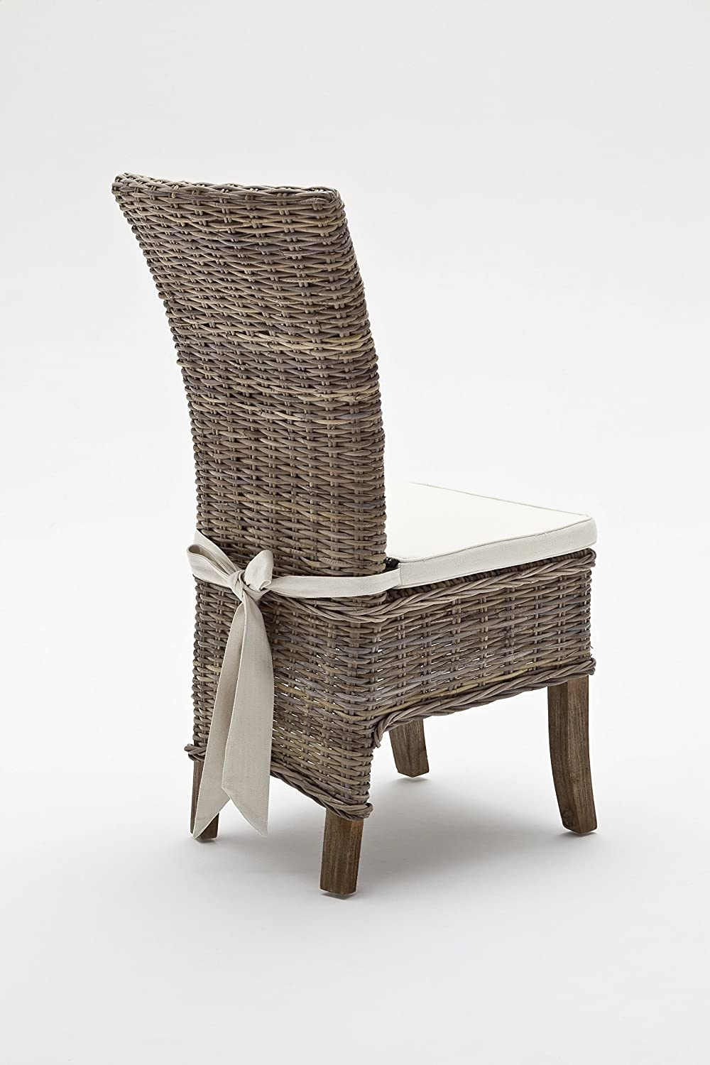 dining chairs with cushions. amazon.com - novasolo wickerworks salsa dining chair with cushion, gray chairs cushions