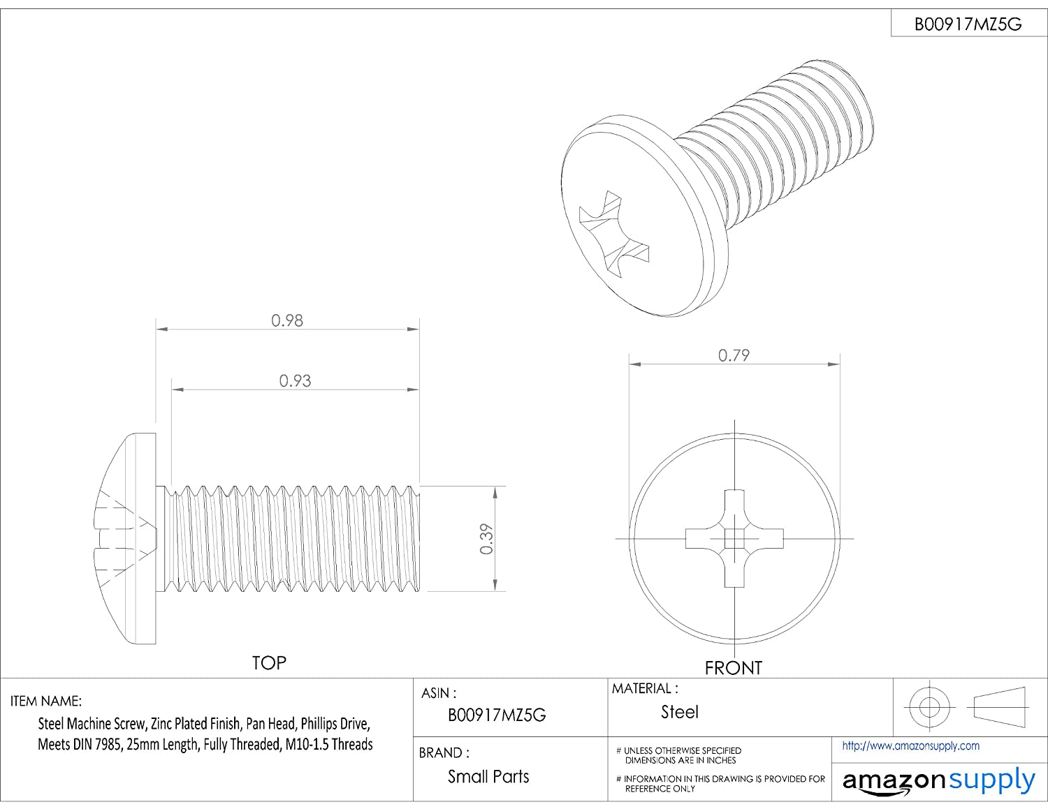 25mm Length Phillips Drive Fully Threaded Meets DIN 7985 Zinc Plated Finish Steel Machine Screw Pan Head M10-1.5 Metric Coarse Threads
