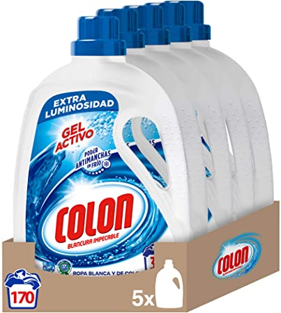 TALLA 1.70 l (Paquete de 5). Colon Gel Activo - Detergente para lavadora, adecuado para ropa blanca y de color, formato gel - pack de 5, hasta 170 dosis