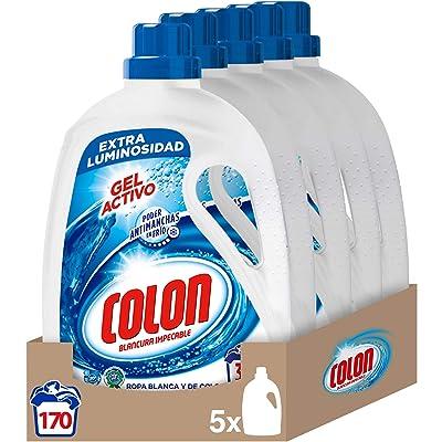 Colon Gel Activo - Detergente para lavadora, adecuado para ropa blanca y de color, formato gel - pack de 5, hasta 170 dosis