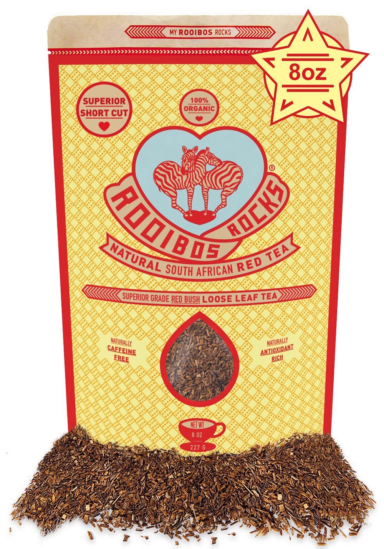 Rooibos Tea Organic Loose Leaf Tea, 8oz South African Red Bush Herbal Tea, By Rooibos Rocks