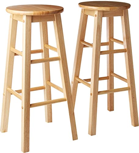 PJ Wood 29-Inch Round Seat Counter Height Stool – Natural, Set of 2
