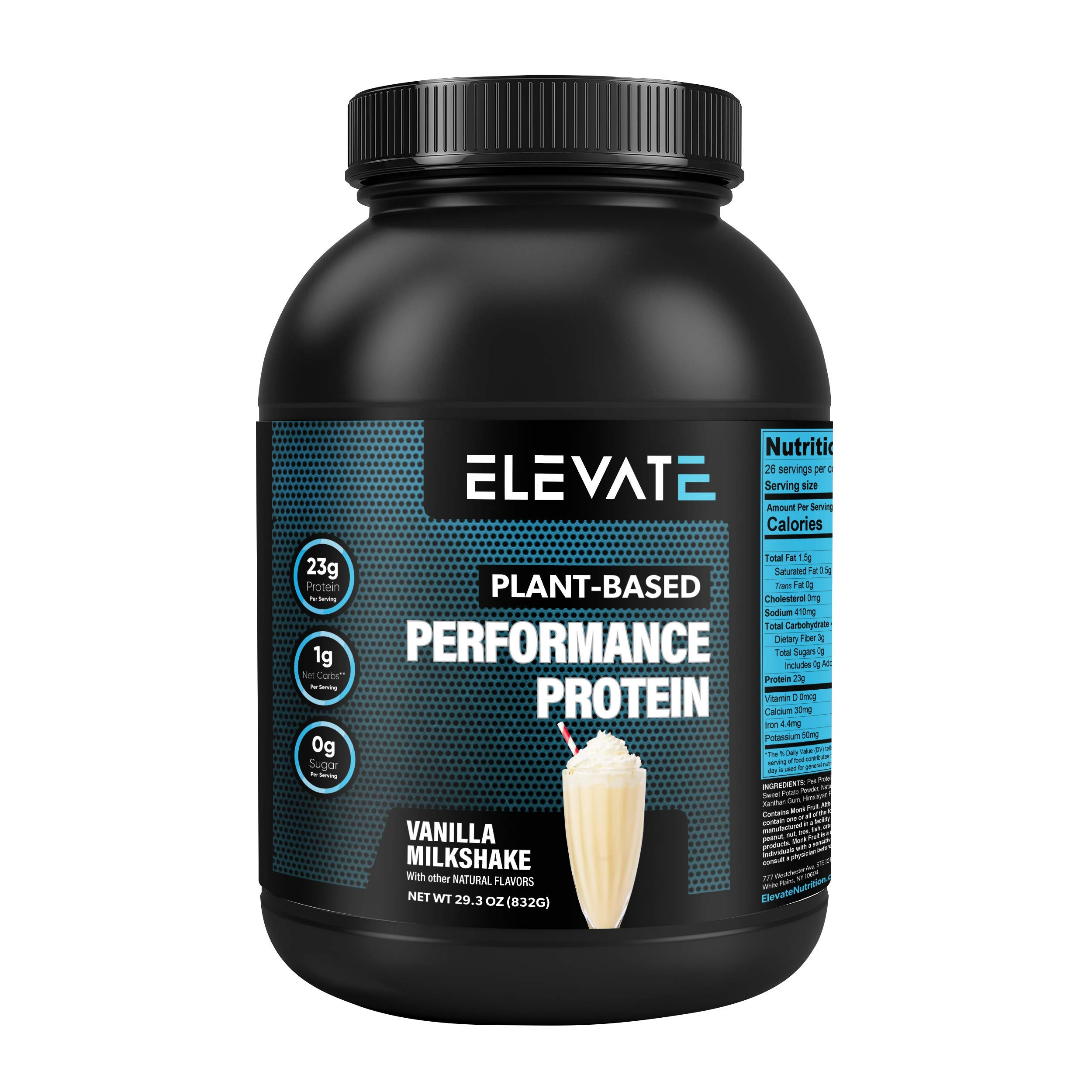 Elevate Nutrition Plant Based Vegan Performance Protein, 26 Servings, Low Carb, NO Sugar, High Protein, High BCAAs, High Glutamine, GMO-Free, Dairy and Soy Free, NO Artificial (Vanilla Milkshake) by Elevate