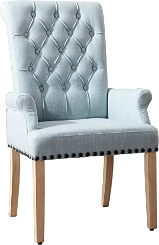 Upholstered Fabric Accent Dining Chair,Adochr Elegant Tufted Club Dining Room Kitchen Room Arm Dining Chairs Blue