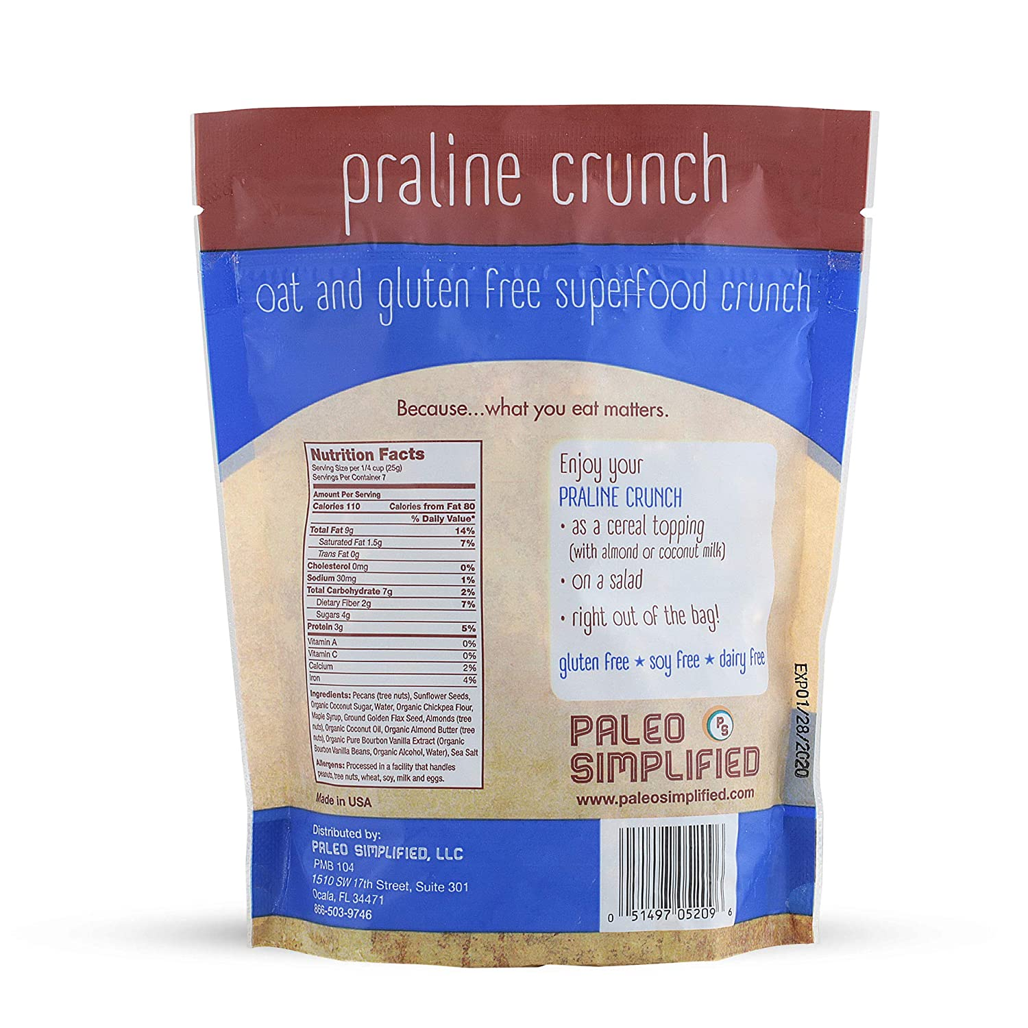Paleo Simplified Praline Crunch Granola, Organic, Gluten Free, Grain Free, Soy Free, Dairy Free, Vegan, Paleo Snack Food, 6.5 ounces (1 Pack)