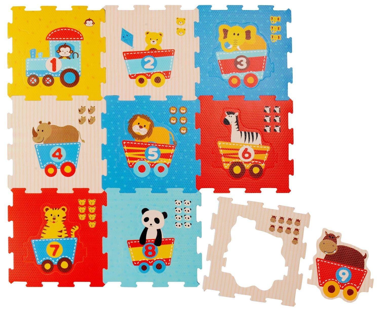 Bieco 19003763 –  Tapis Puzzle Animaux et Chiffres, 9 piè ces 9pièces