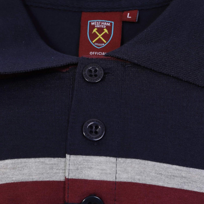 West Ham United FC Polo Oficial Para Hombre - A Rayas - Azul ...