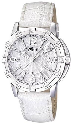 Lotus 15745/1 - Reloj analógico de cuarzo para mujer con correa de piel, color blanco: Lotus: Amazon.es: Relojes