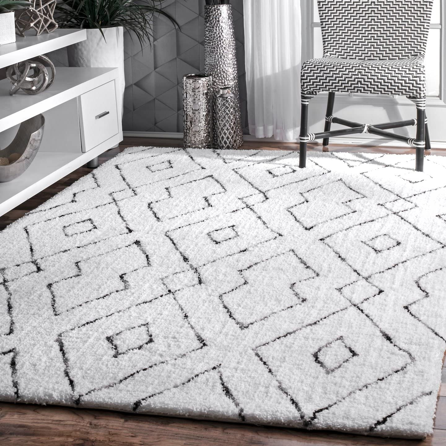 nuLOOM Lauren Lattice Shag Rug, 9 x 12 , White