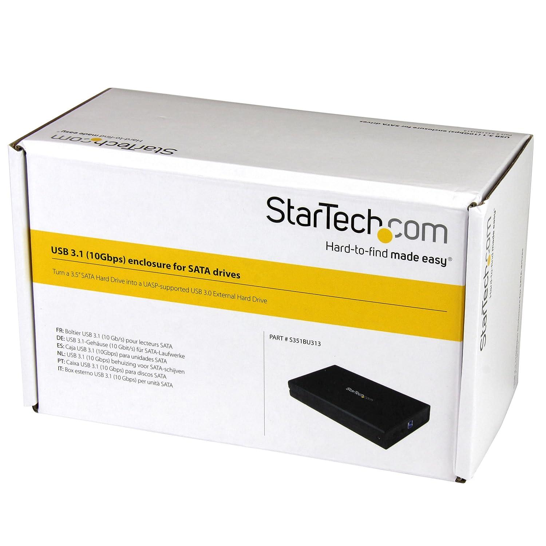 StarTech.com S351BU313 - Caja USB 3.1 Gen 2 de 10 Gbps para Disco SATA III de 3.5