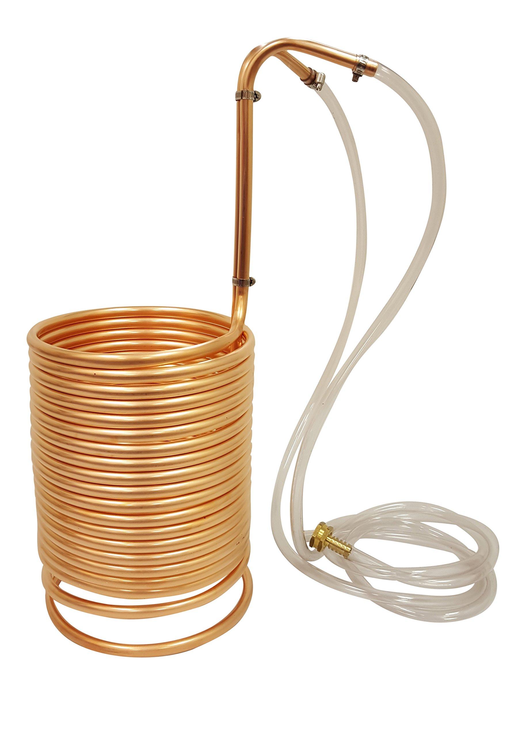 NY Brew Supply Wort Chiller w/vinyl tubing attachments, 1/2'' x 50', Copper