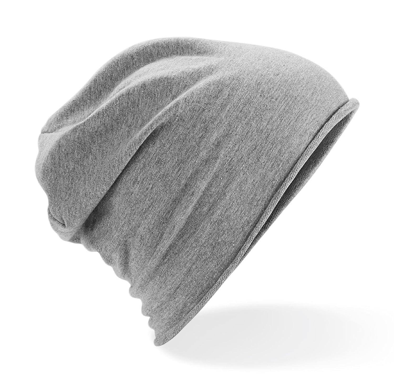 bc397e562e2 Jersey Cotton Unisex Beanie Slouch Hat (Grey)  Amazon.co.uk  Clothing