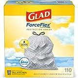 Glad ForceFlex Tall Kitchen Drawstring Trash Bags – 13 Gallon Trash Bag, Fresh Clean scent with Febreze Freshness – 110…
