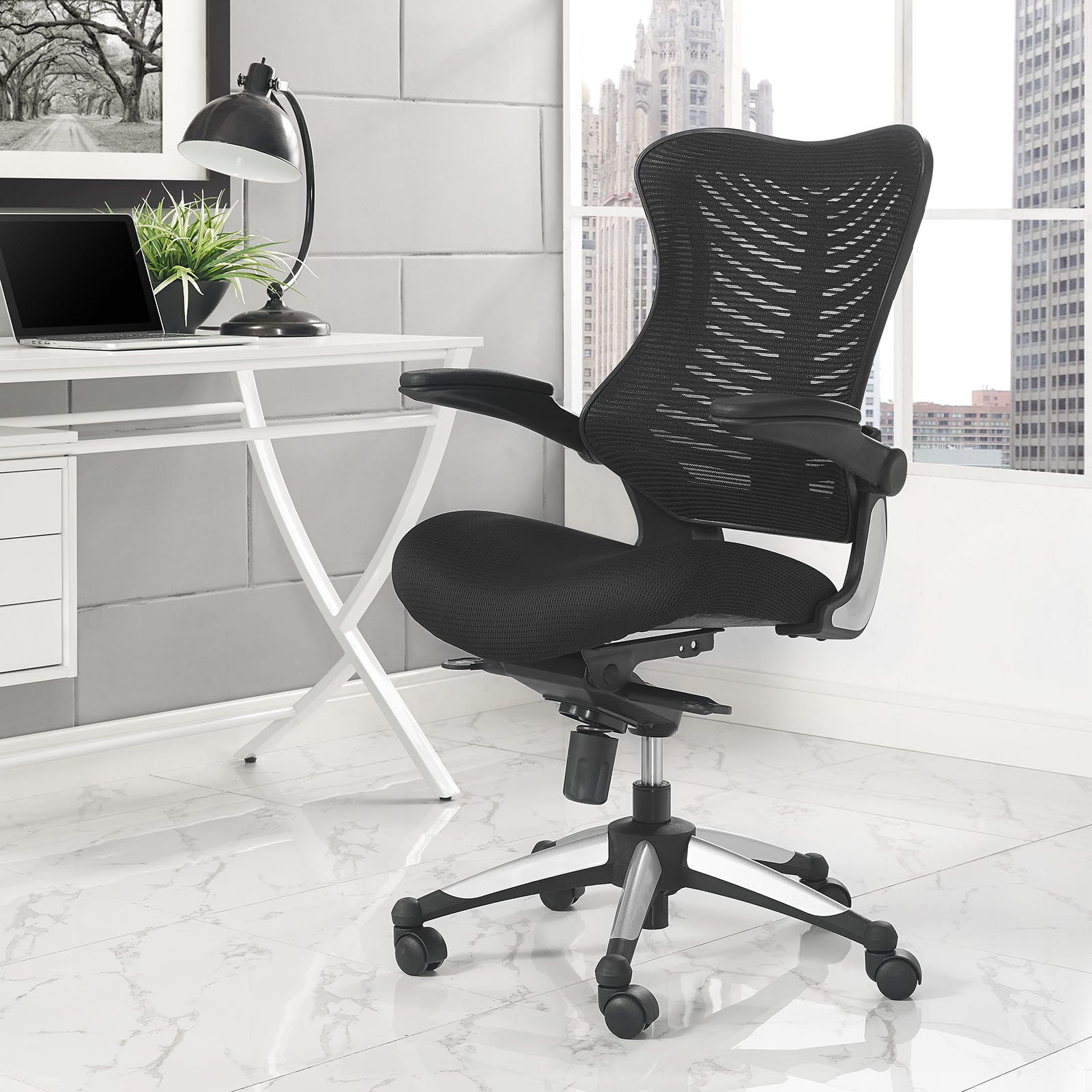 Modway Charge Ergonomic Managerial Mesh Office Chair with Flip-Up Padded Arms, Black by Modway