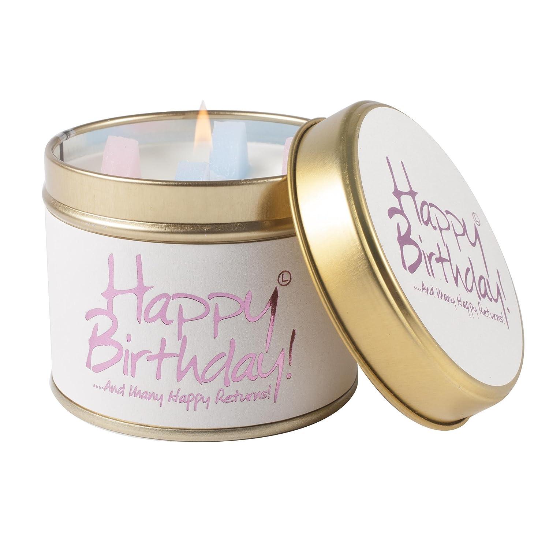 Lily Flame - Candela in Scatola di Latta, Motivo: Buon Compleanno, Rosa Lily-Flame 1HAP