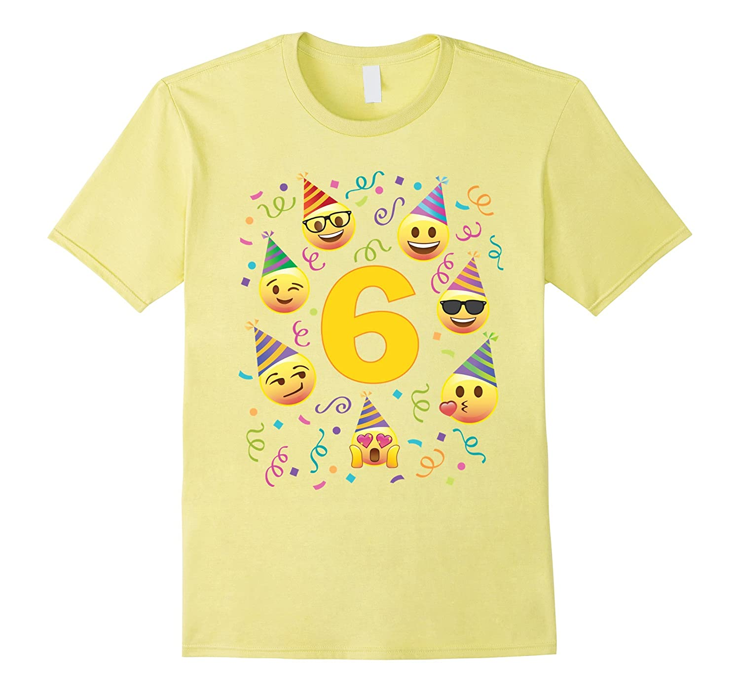 Emoji Birthday Shirt For 6 Six Year Old Girl Boy Party Hats CD