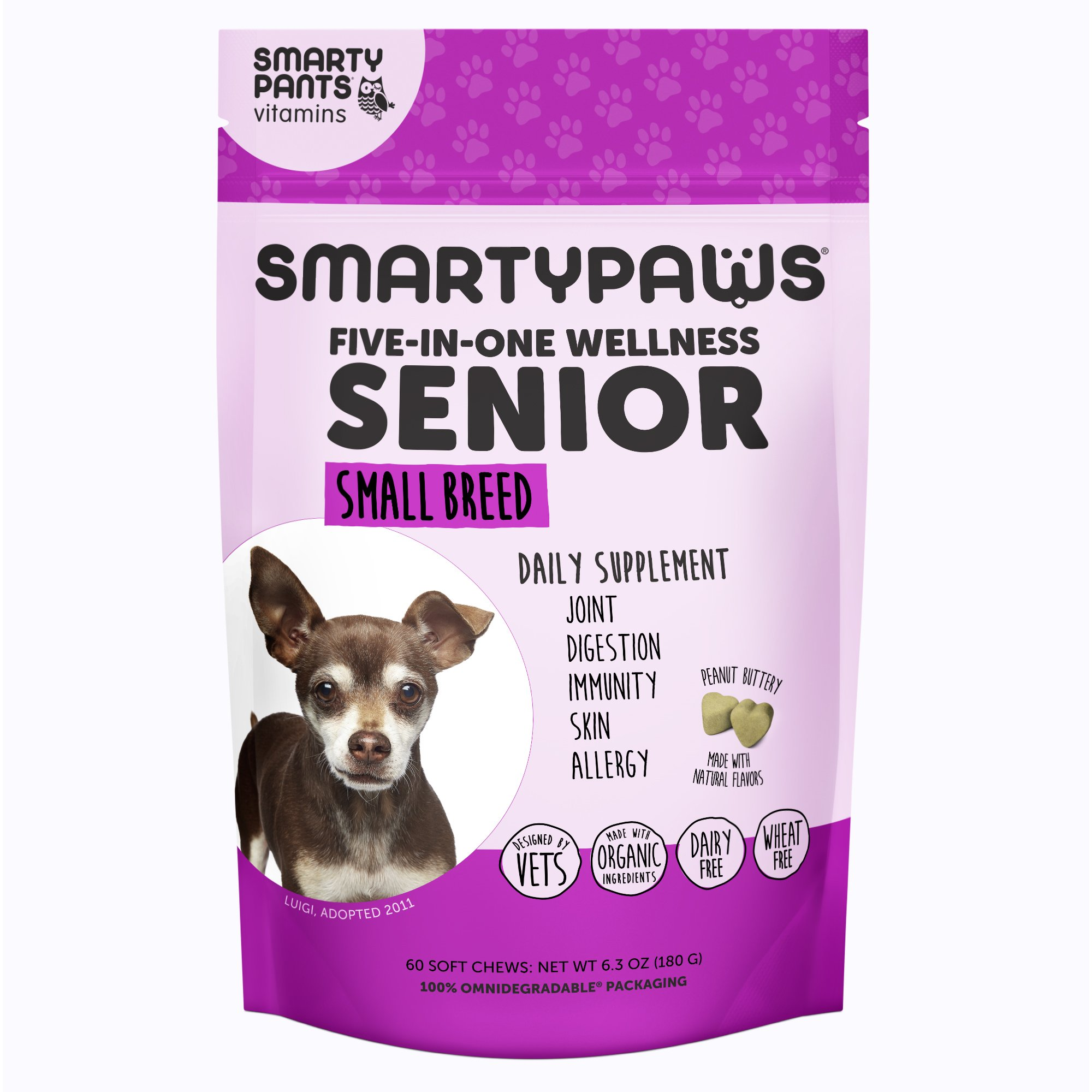 SmartyPants SmartyPaws Dog Supplement Chew- Glucosamine & Chondroitin + MSM for Joint Support, Fish Oil Omega 3 (EPA & DHA), Probiotics, Organic Turmeric: Senior Small Breed Vitamins - 60 ct