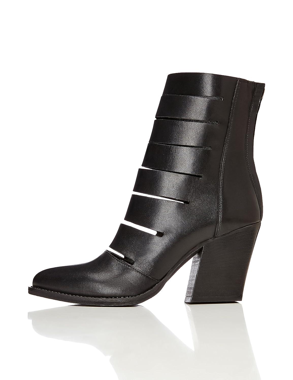 Schwarz(schwarz) find. Stiefeletten Damen mit Riemen und Reißverschluss