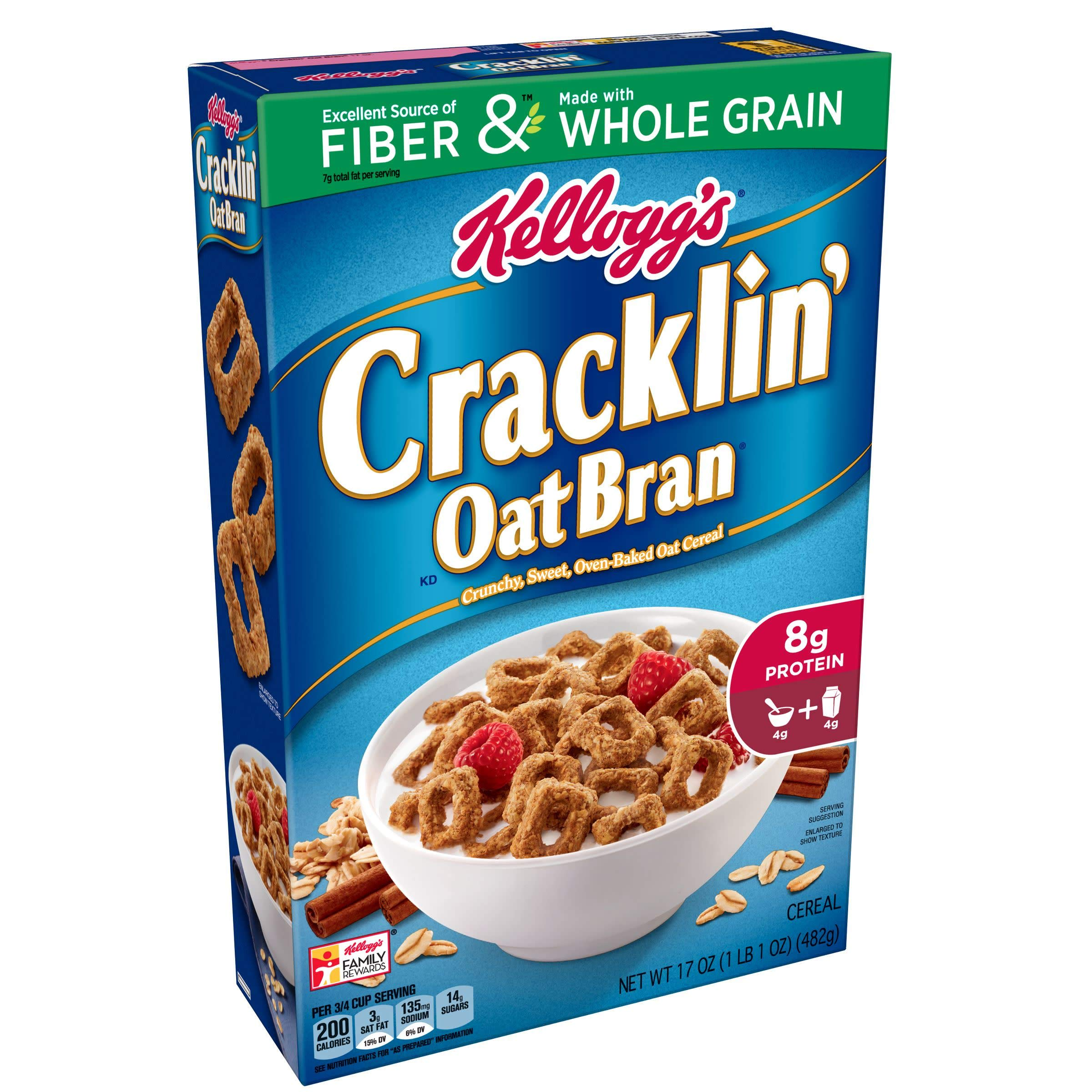 (Discontinued Version) Discontinued by Manufacturer)Kellogg's Breakfast Cereal, Cracklin' Oat Bran, Excellent Source of Fiber, Made with Whole Grain, 17 oz Box(Pack of 10) by Cracklin' Oat Bran