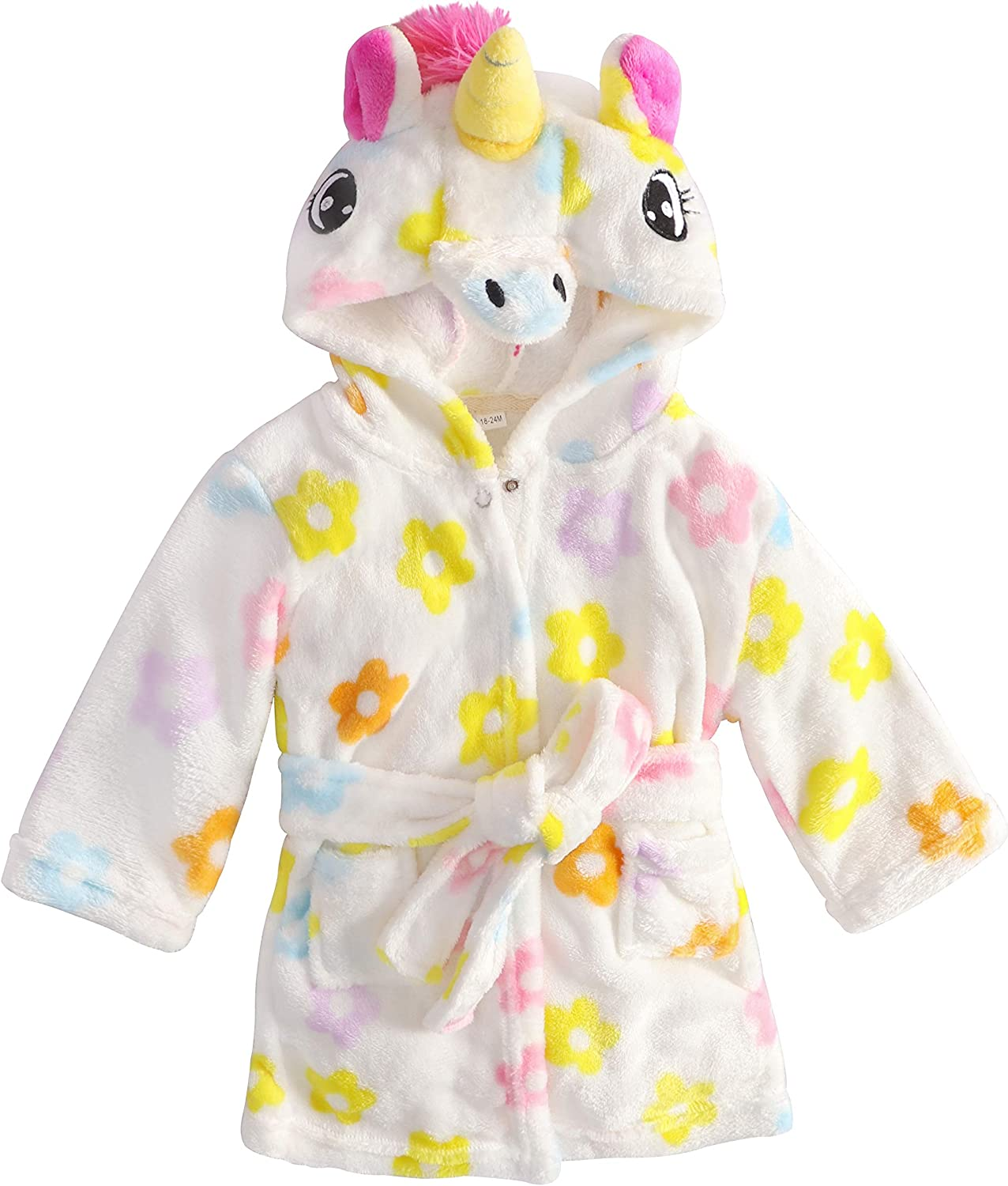 Soft Plush Animal Unicorn Hooded Robe for Baby Girls: Clothing