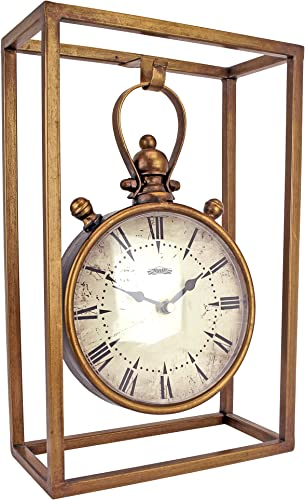 Design Toscano Industrial Age Mantel Clock, 13 Inch, Metalware, Brass
