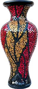 Zorigs Floor Vase – Tall Cylinder with Swirls – Made of Terracotta with Gold and Red Glass Mosaic Pieces – Exquisite Home Décor Accent Piece – 23.6 x 10.2 Inches - for Hallway, Bedroom, Living Room