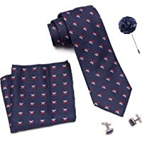 Axlon Men Formal/Casual Weaved Polyester Neck Tie Pocket Square Accessory Gift Set with Cufflinks and Lapel Pin - Blue (Free Size, ltr_806)