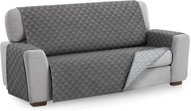 Textilhome - Funda Cubre Sofá Malu, 4 Plazas, Protector para Sofás Acolchado Reversible. Color Gris C/3: Amazon.es: Hogar