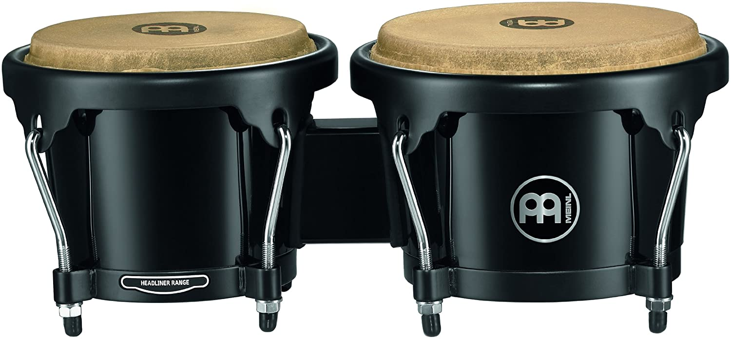 Wine Red Burst Meinl Percussion HB100WRB Standard Size Rubber Wood Bongos with Natural Skin Heads VIDEO